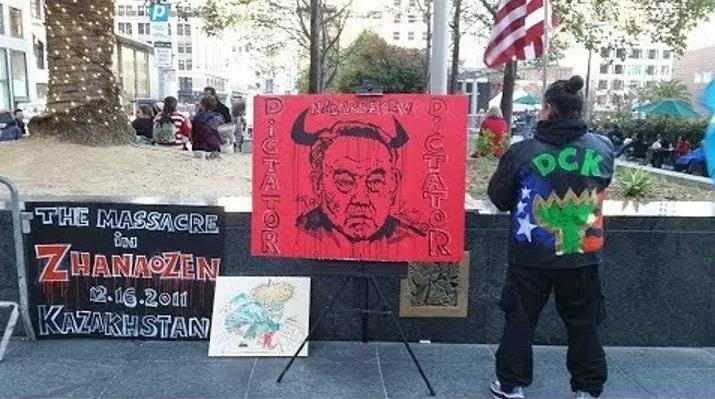 Акция протеста против расстрела рабочих в Жанаозене в США