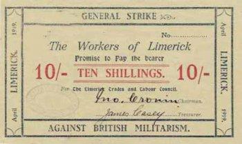 Денежная купюра 10 шиллингов, напечатанная Лимерикским советом профсоюзов в 1919 г.
