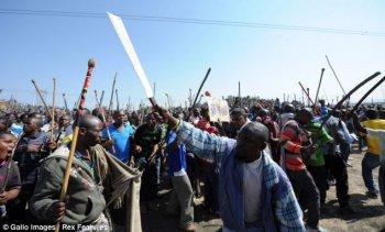 Бастующие шахтеры в Марикана, ЮАР