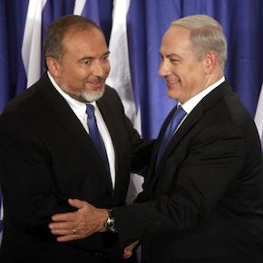 премьер-министр Израиля Биньямин Нетаньяху и фашист, министра иностранных дел Эвет (Авигдор) Либерман